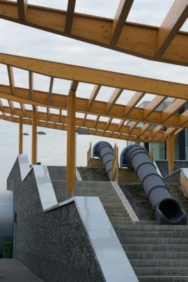 Autoroute E42-réaménagement de l'aire autoroutière de Verlaine. Bureau Architecture Engineering Verhaegen SA Pierre HINKELTZ