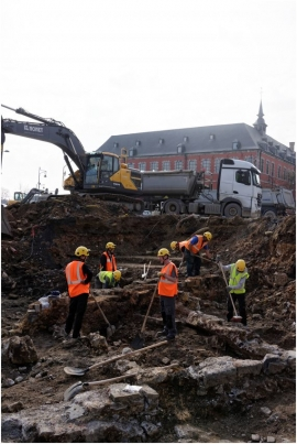 Début des fouilles archéologiques du Grognon à NAMUR par le service public de wallonie (SPW).