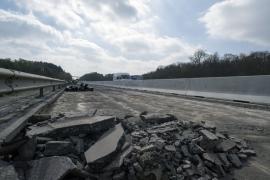 Travaux sur le viaduc de Custinne (mars 2017).