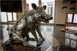 Exposition. Milo Dardenne, le peintre du silence, Espace Wallonie Bruxelles. (2017) Sculpture d'un sanglier, Gatien Dardenne.