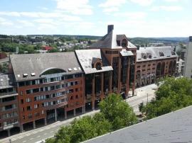 Implantations du Service public de Wallonie (SPW) et des TEC, avenue François Bovesse à Jambes (Namur). Vue depuis le toit du Secrétariat général du SPW.