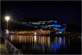 La Meuse et le nouvel éclairage de la citadelle à Namur.
