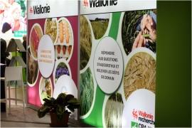 Stand de l'Agence wallonne pour la Promotion d'une Agriculture de Qualité (APAQ-W) au salon AGRIBEX à Bruxelles (décembre 2017).