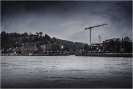 Namur-Jambes et la Meuse (vue de nuit).