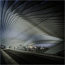 La gare des Guillemins à Liège, conçue par Santiago Calatrava Valls, né le28 juillet 1951Ã Benimàmet (Valence),un architecte, ingénieur et plasticien espagnol.La gare a été inaugurée le 18 septembre 2009.