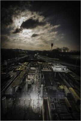 Le chantier du futur centre Perex 4.0. à Daussoulx (Namur). Etat au 5 février 2018.