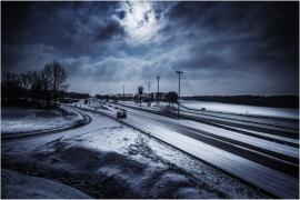 Chute de neige sur l'autoroute E 411 à hauteur d'Eghezée.