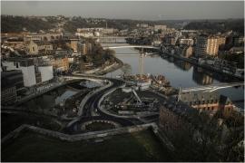 Travaux d'aménagement au Grognon - Vue depuis la Citadelle de Namur
